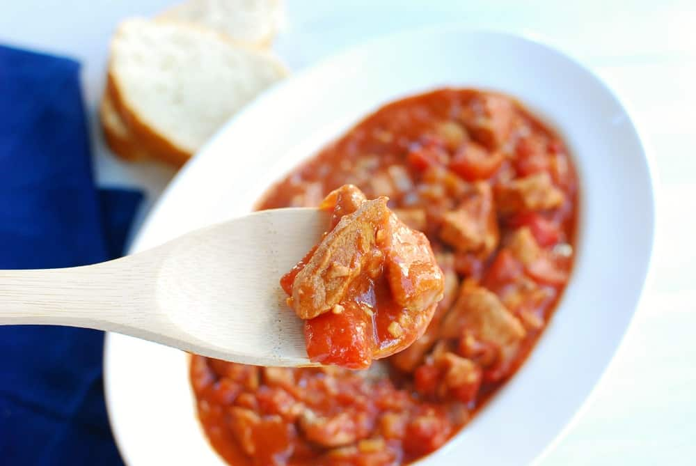 Close up of a spoonful of French veal stew