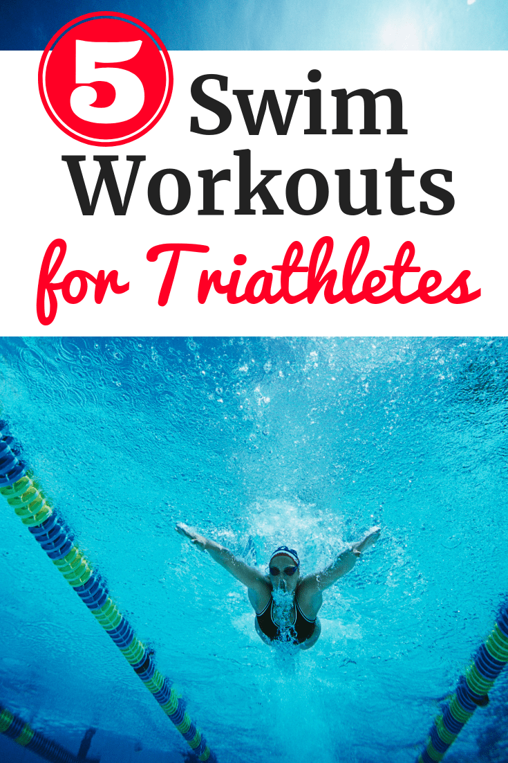 A woman swimming in a pool with a text overlay about swim workouts for triathletes