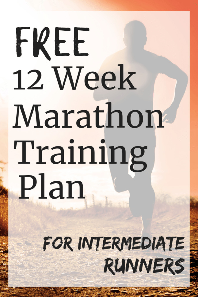 A man running outside with a text overlay that says free 12 week marathon training plan for intermediate runneres