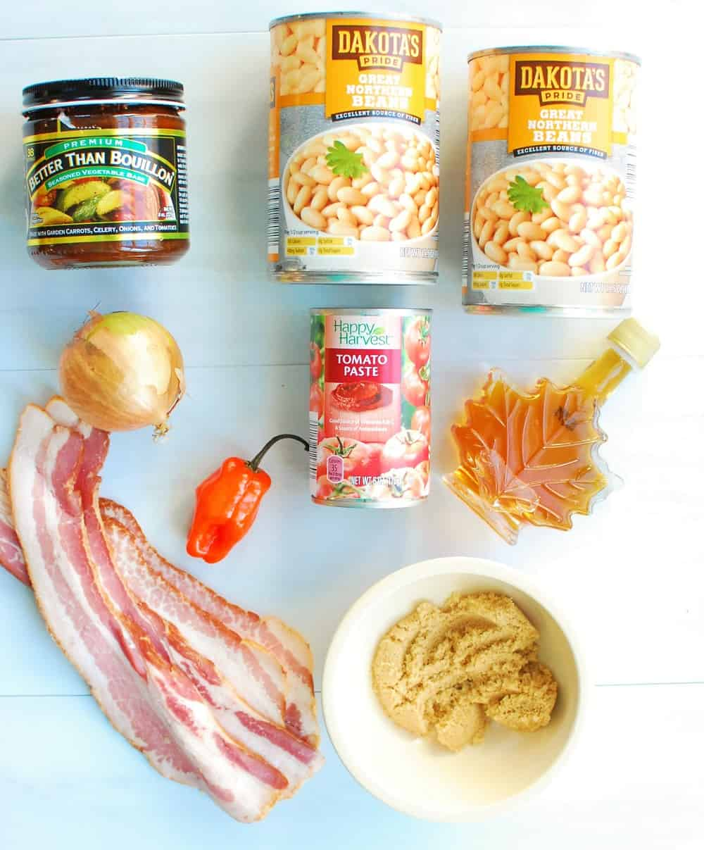 Ingredients to make easy baked beans
