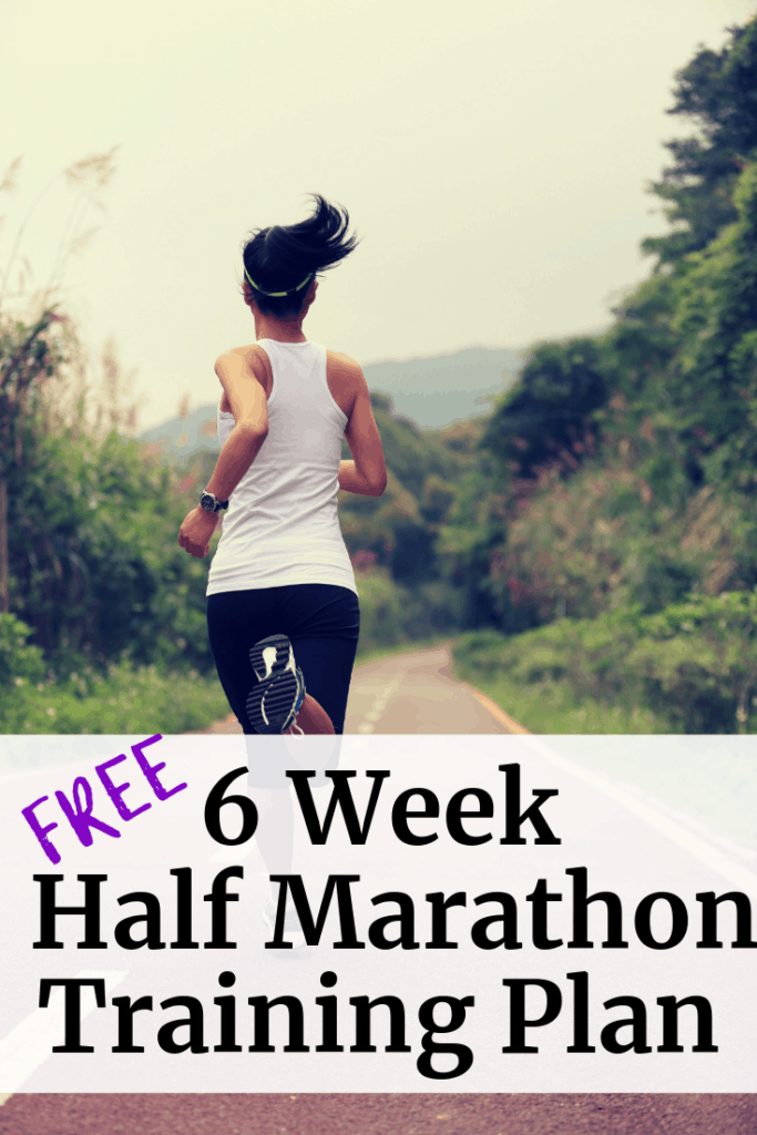 Female runner with a text overlay about a free 6 week half marathon training plan