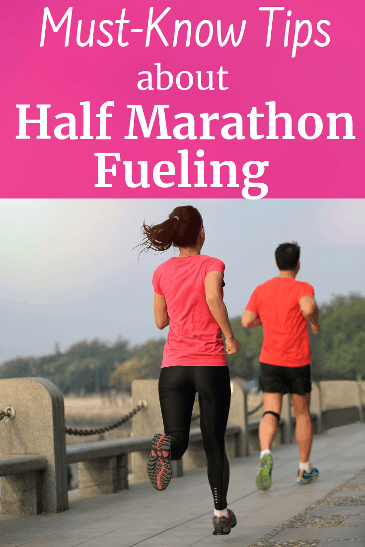 Two runners outside with a text overlay about tips for half marathon fueling