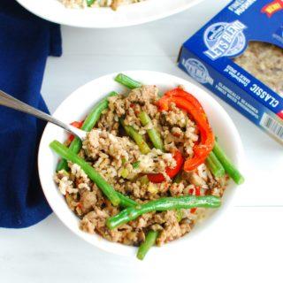 Szechuan pork with mushrooms and green beans