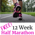 A woman running outdoors with a text overlay about a 12 week half marathon training plan