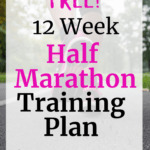 A woman running in sneakers with a text overlay advertising a half marathon training plan