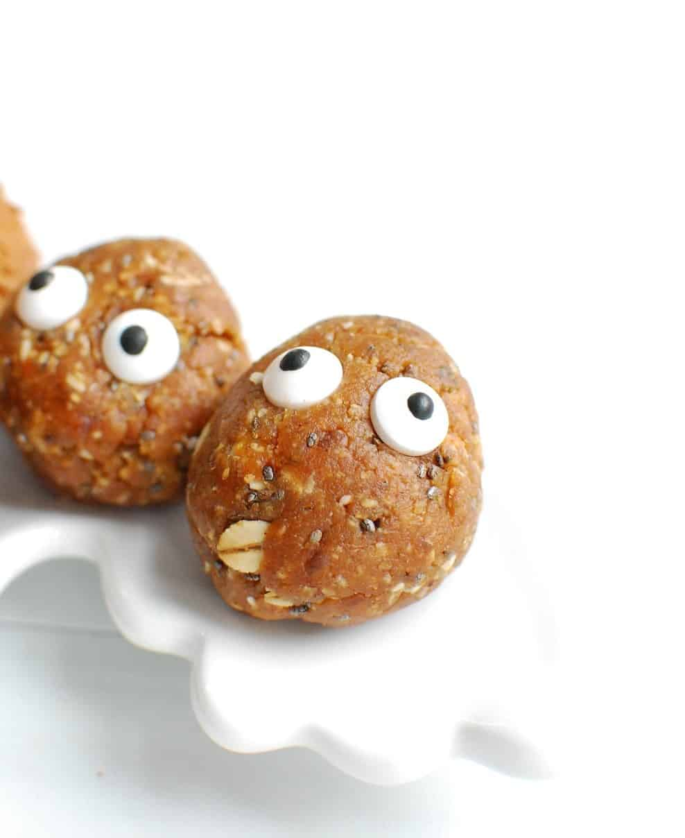 apple peanut butter balls with edible candy eyeballs