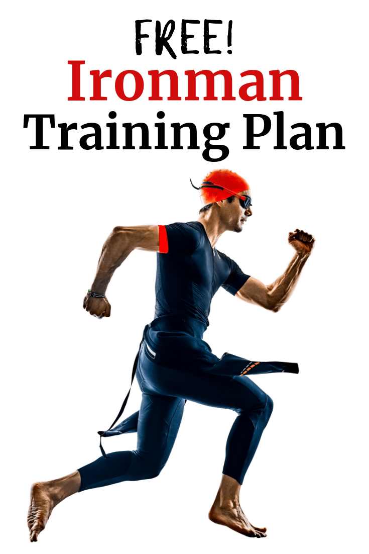 A triathlete with a wetsuit and swim cap, with a text overlay about free ironman training plan