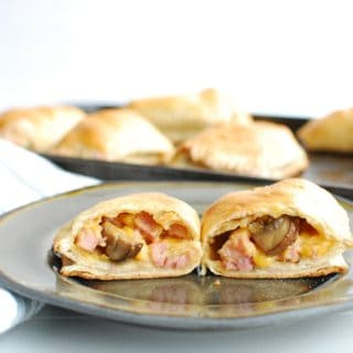 Homemade ham and cheese hot pockets