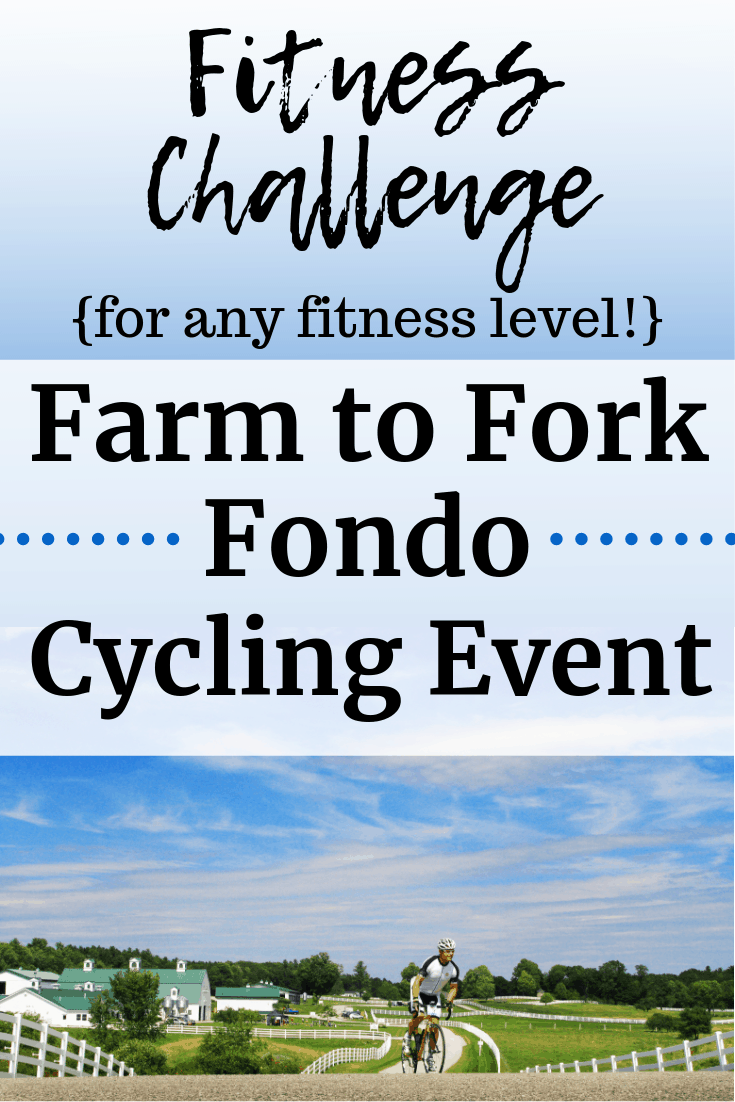 A man cycling outdoors on a beautiful day with a text overlay about the farm to fork fondo event