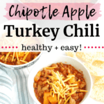 A bowl full of healthy turkey chili topped with cheese, next to a pot