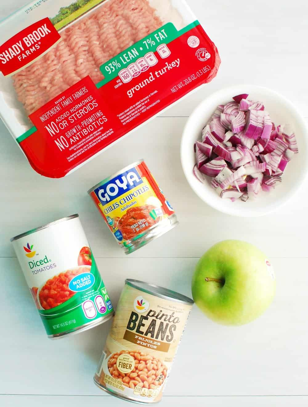 Some of the ingredients needed to make chipotle turkey apple chili