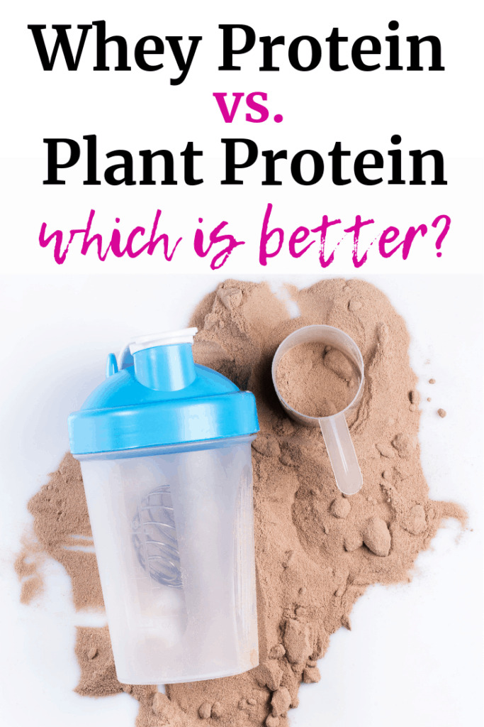 A shaker bottle with some protein powder, and a text overlay about whey protein vs plant protein