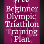 A triathlete on a bike with a text overlay about a free beginner olympic triathlon training plan