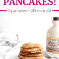 A stack of low calorie pancakes next to a bottle of maple syrup