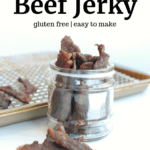 Several strips of gluten free beef jerky in a small jar