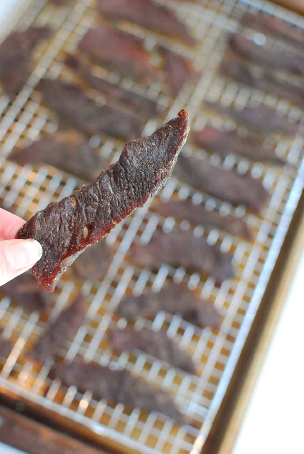 A strip of beef jerky in someone's hand