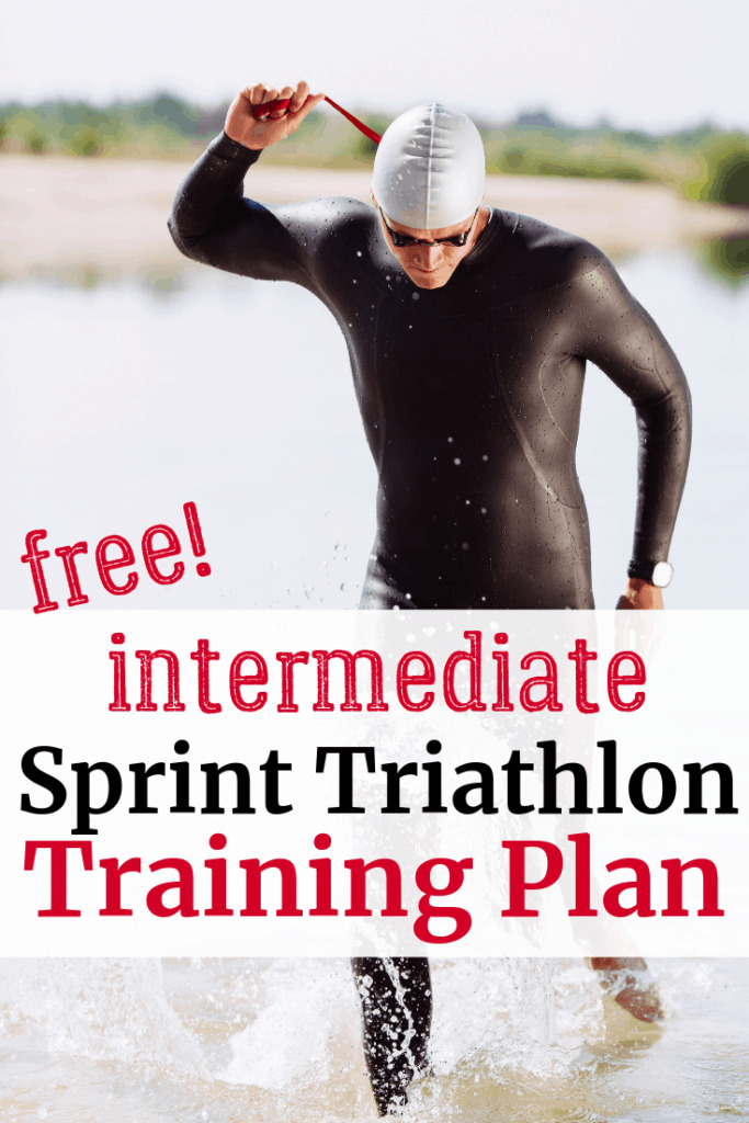 A triathlete coming out of the water with a text overlay about a sprint triathlon training plan