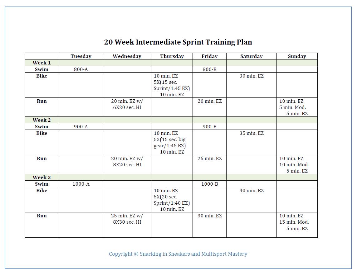 Intermediate sprint triathlon training plan