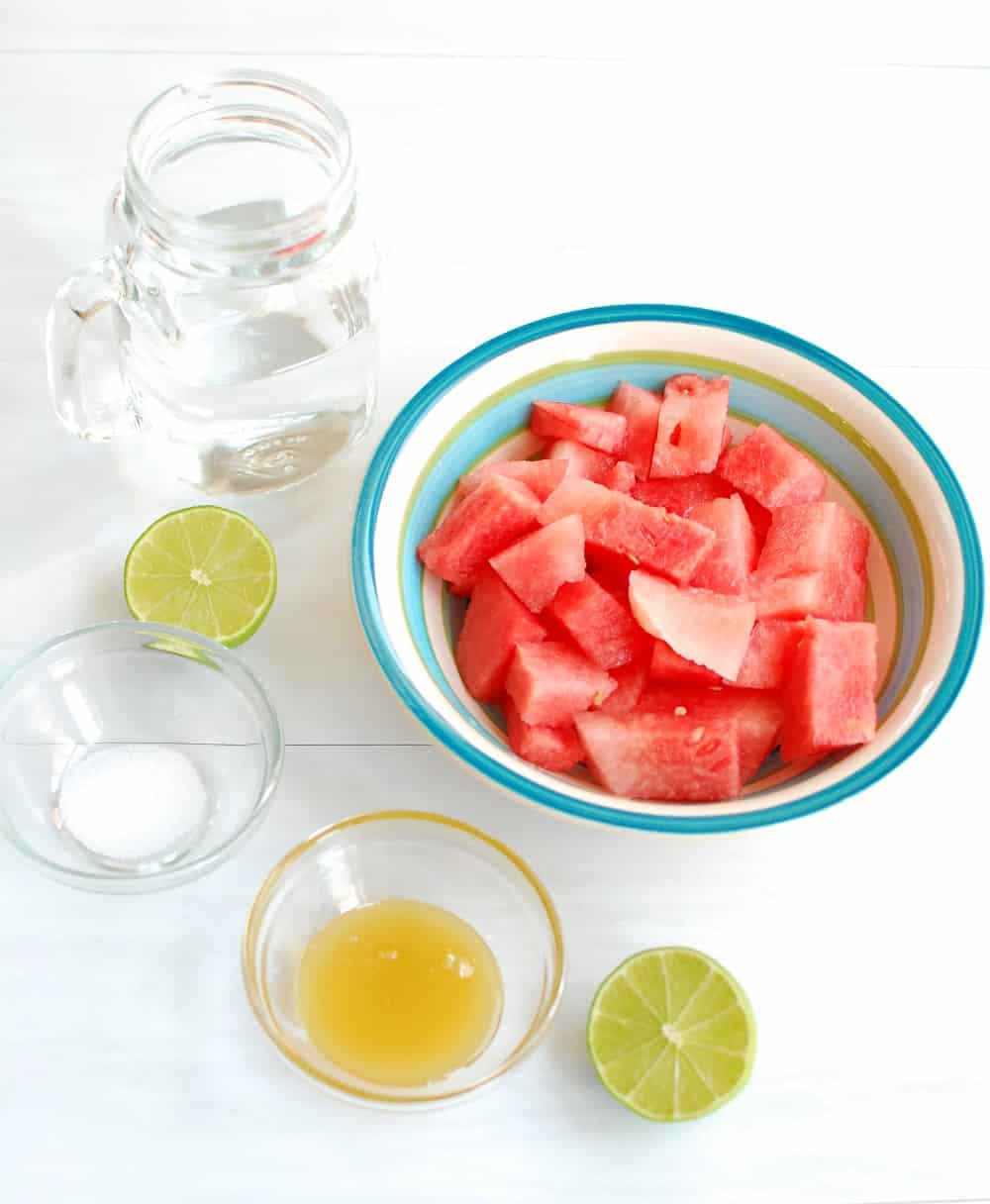 Ingredients to make a watermelon sports drink