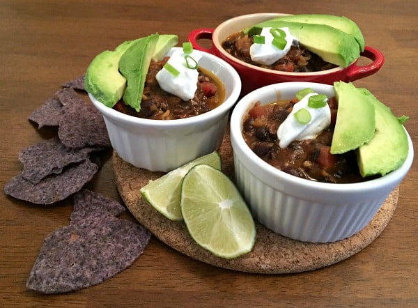 black bean chili dish that's perfect to make for a pantry challenge