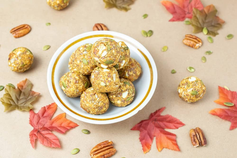 Pumpkin energy bites in a bowl
