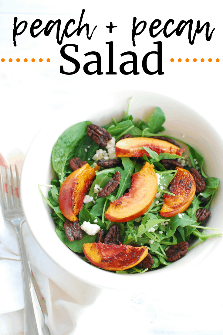 Arugula spinach salad with pecans, peaches, and blue cheese