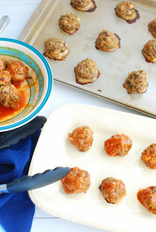 A platter with buffalo turkey meatballs