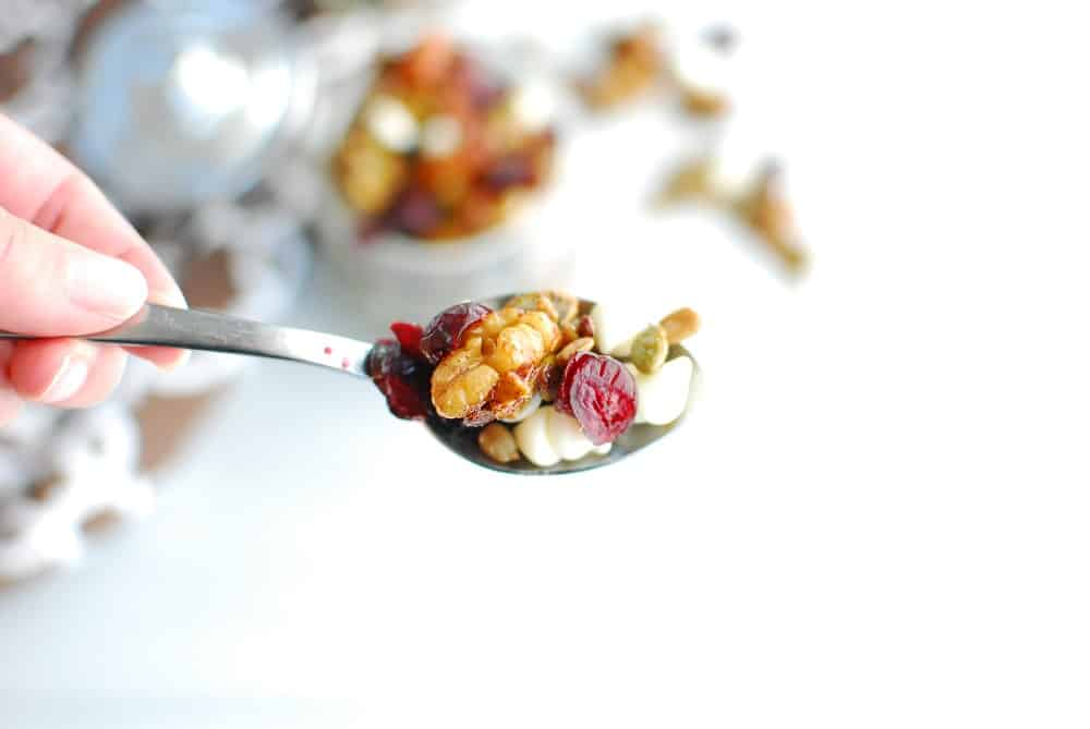 A spoonful of harvest trail mix