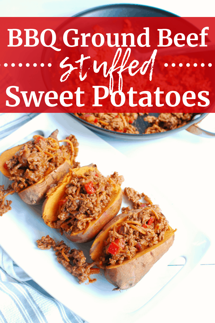 BBQ ground beef stuffed sweet potatoes on a white plate