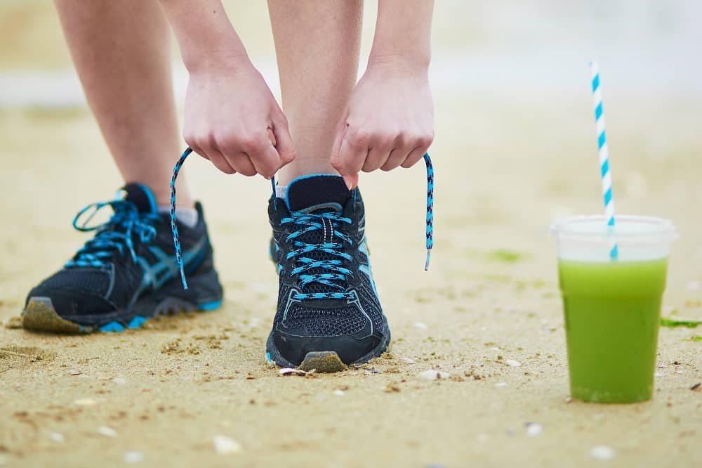A runner next to a smoothie