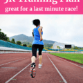 A women training to run a 5K race on the track