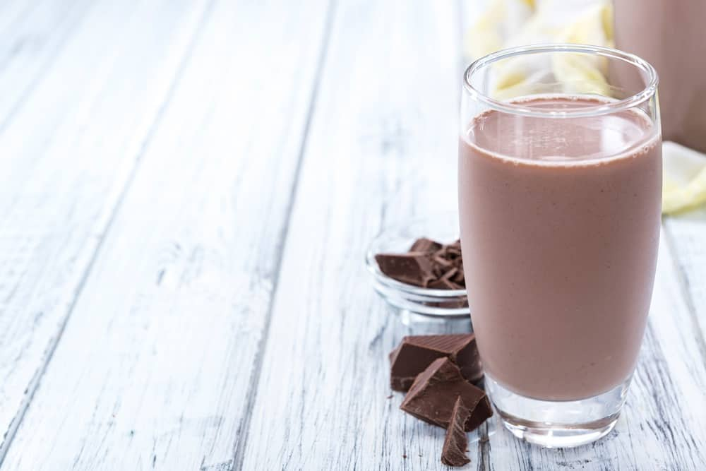glass of cold chocolate milk
