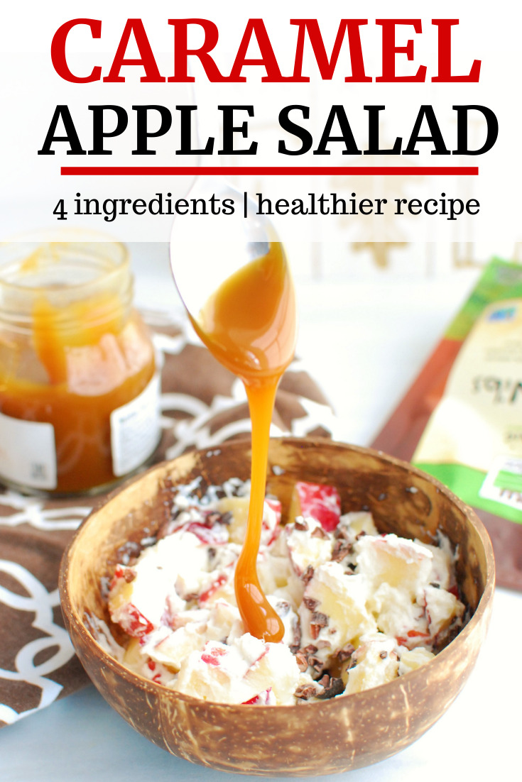 A bowl of apples with ricotta and cacao nibs, being drizzled with caramel sauce