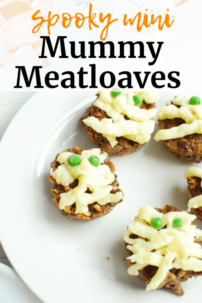 a plate full of mini mummy meatloaves