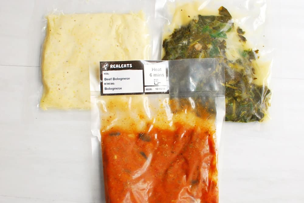 A bag from Real Eats with the beef bolognese meal