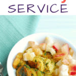 Real Eats shrimp and grits dish with a text overlay about the best meal delivery service