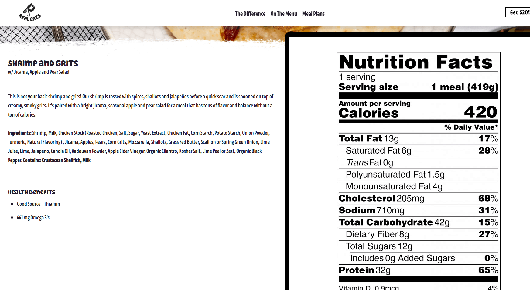 Screenshot of Real Eats nutrition information