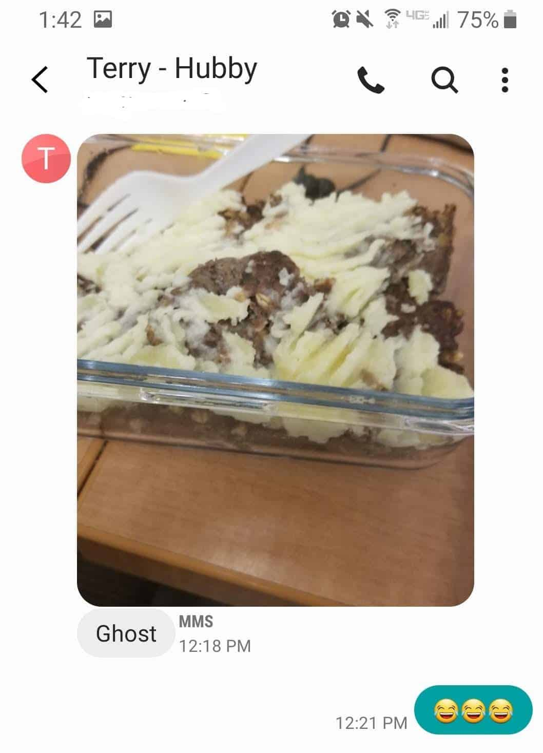 Text message response about ghost meatloaf