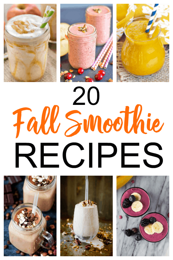 Collage image of several fall smoothies