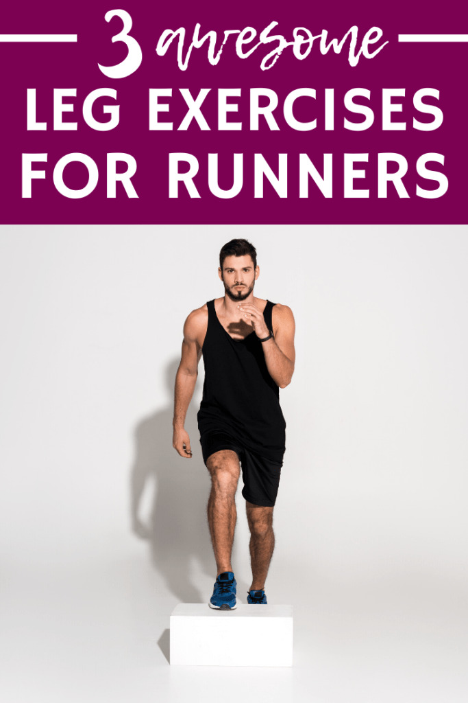 A man doing a step up, an important leg exercise for runners