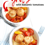 Two bowls of scallops and grits with cherry tomatoes
