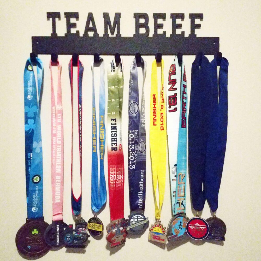 Team Beef Race Medal Rack