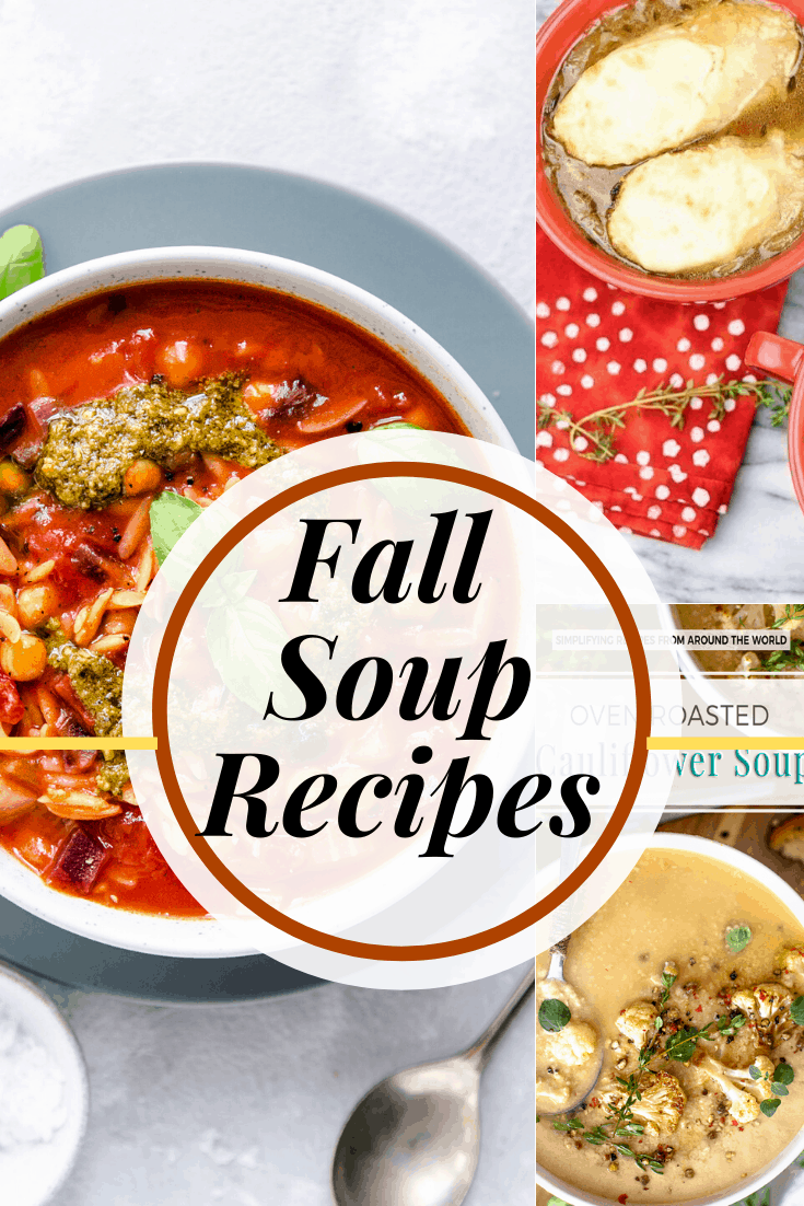 Collage of three different fall soup recipes, each in a bowl