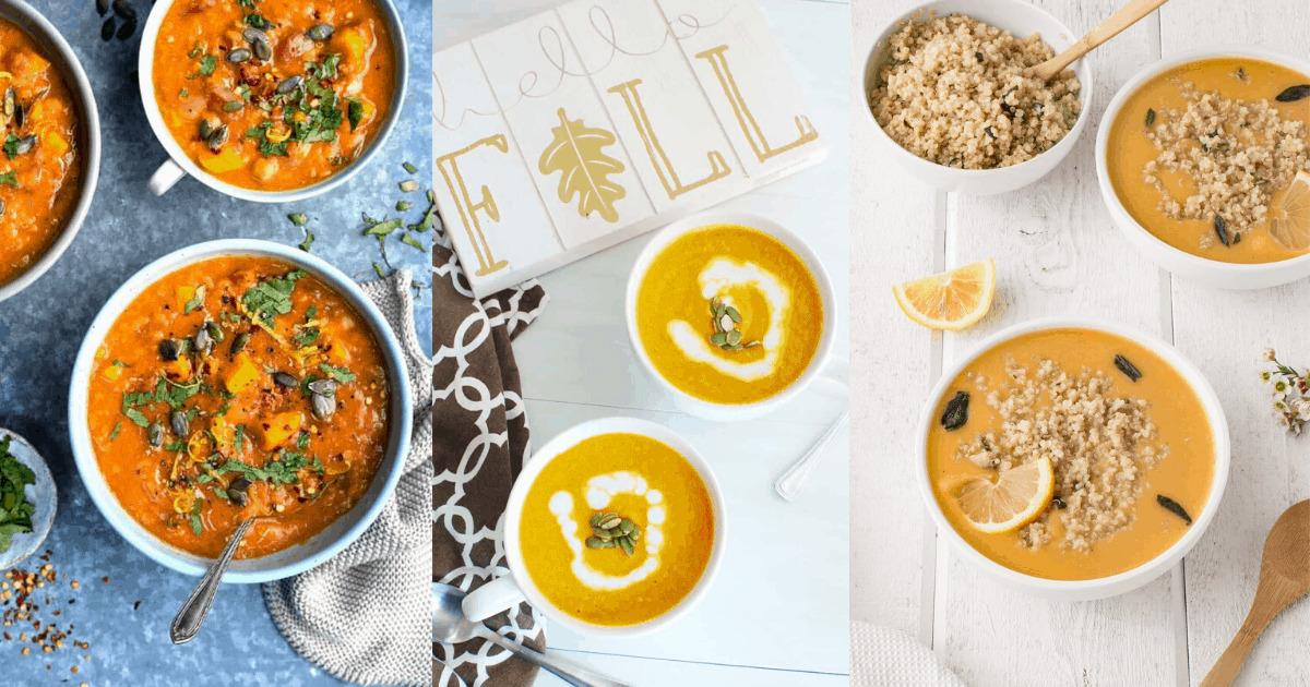 A bowl of lentil soup, a bowl of pumpkin soup, and a bowl of squash soup