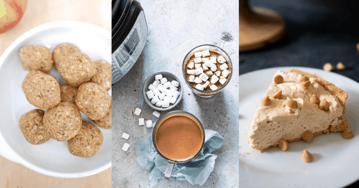Collage image of peanut butter holiday desserts including pie, energy balls, and hot chocolate
