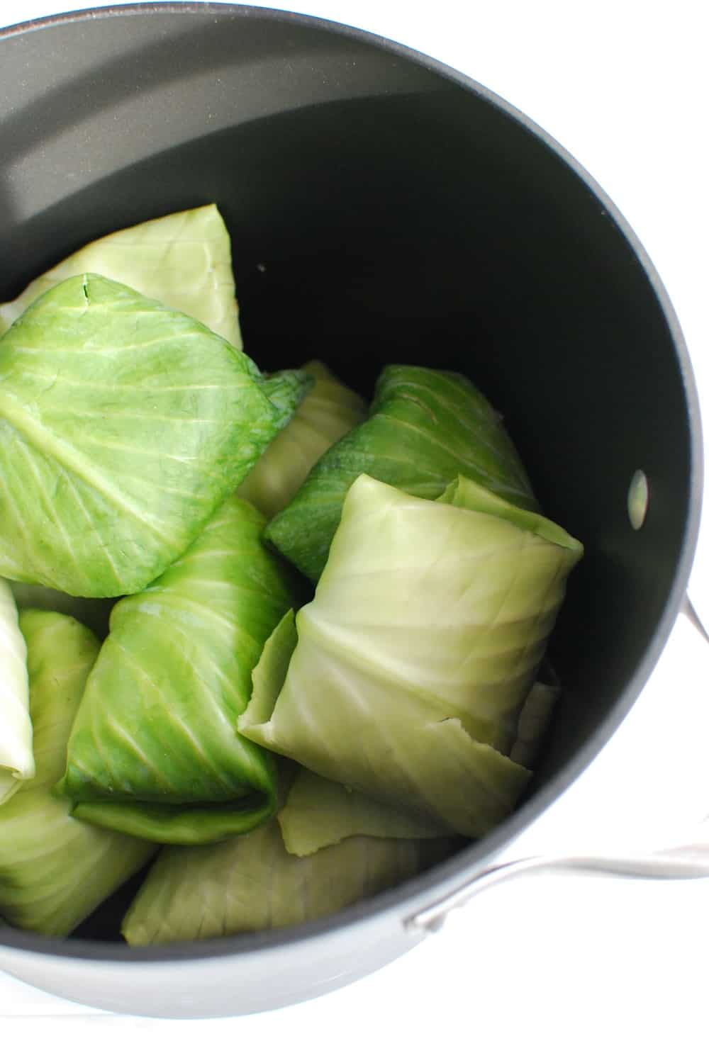 Stuffed cabbage rolls in a large pot before cooking