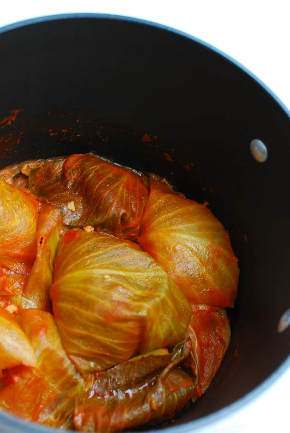 Stuffed cabbage rolls in a pot after cooking