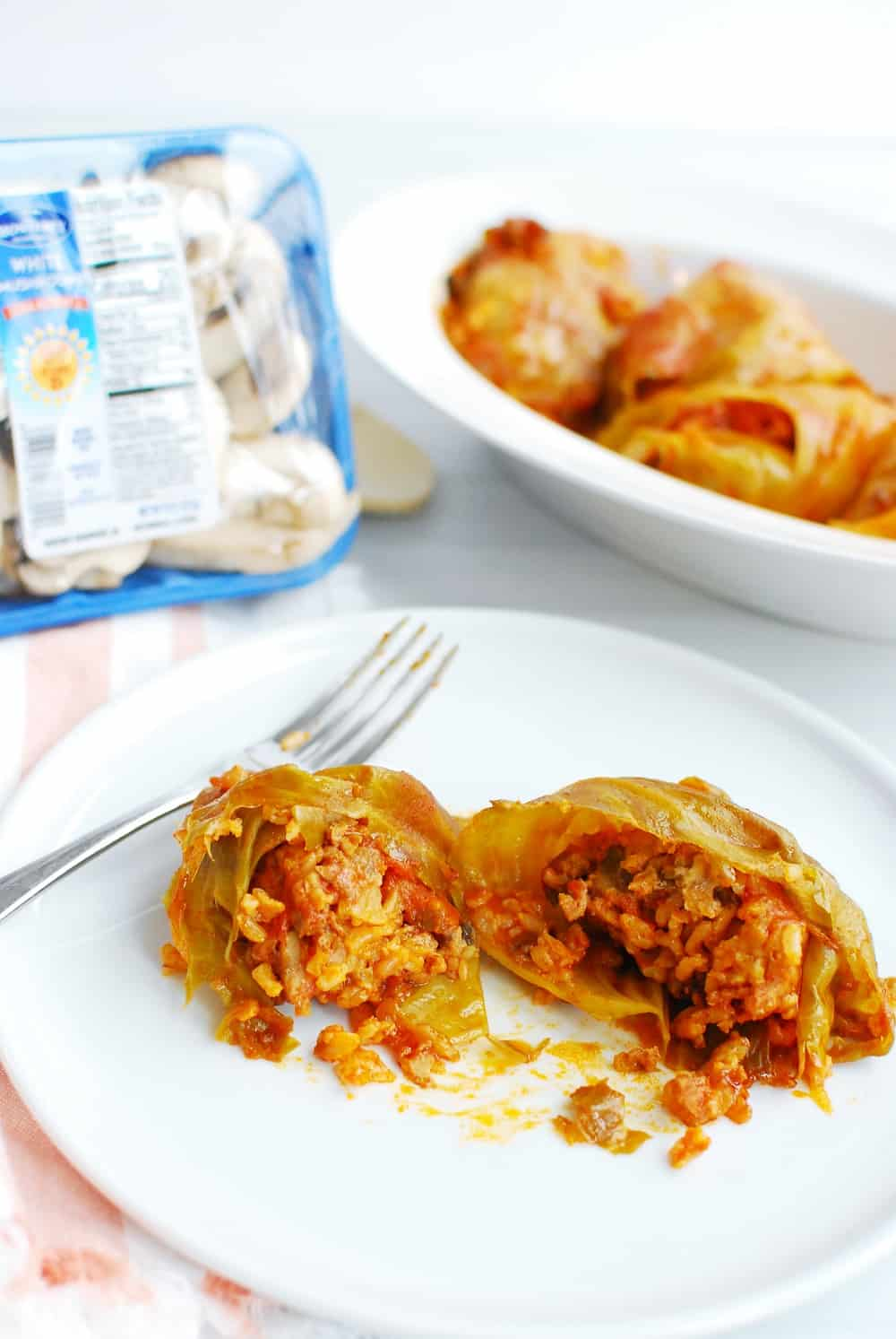 a Hungarian stuffed cabbage roll that's been cut in half