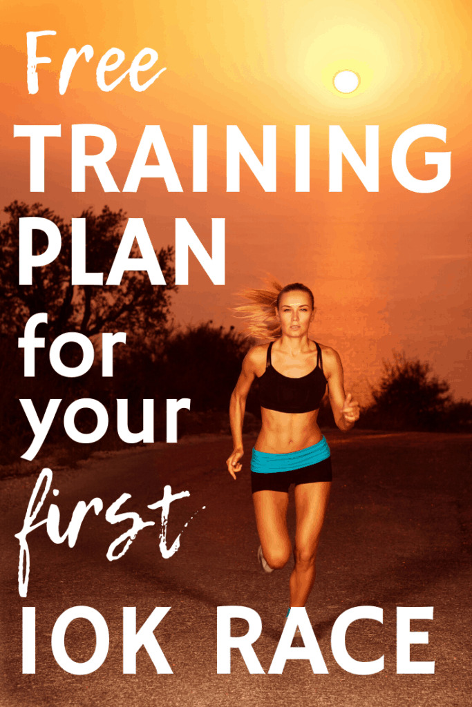 A woman running outdoors at sunrise with a text overlay about a free 10K training plan