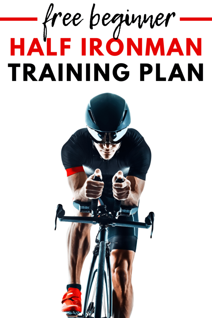 A man on a bicycle with a text overlay about a free half ironman training plan